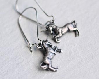 Unicorn Earrings ... Pegasus Horse Mythical Vintage Silver