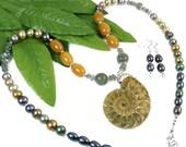 Ammonite Neckace, Fossil Beaded Necklace, Spiral Shell Necklace, Fossil Labradorite Necklace, Unique Boho Jewelry Set, Bohemian Jewelry OOAK