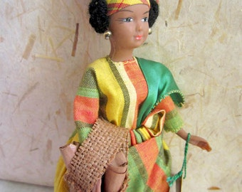 French Martinique costume doll, folk doll, vintage, France, vintagefr, Petitcollin