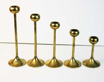 Vitnage Graduated Brass Tulip Candlestick / Ball Bowl Brass Candle holders
