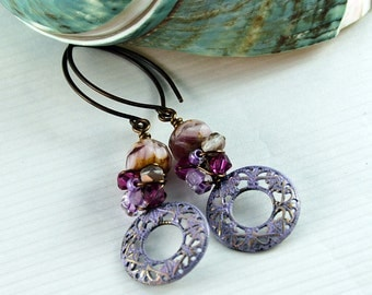 Bohemian Earrings  Gypsy Earrings Purple Fuchsia Earrings