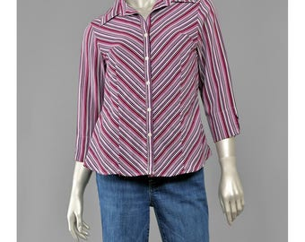 Vintage 90s Blouse • Chevron Striped Blouse • 70s Style Fitted Shirt • Button Up Shirt • Chevron Shirt • Burgundy Purple Striped Shirt (M)