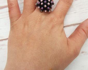 Statement Ring - Vintage Pewter Ring - Atomic Ring - Spikey Ring - Mod Vintage Ring - Modernist Ring - Purple Ring - Brutalist Ring