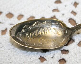 Vintage Atlantic City Souvenir Spoon with Cherub and Wedding Bell Handle