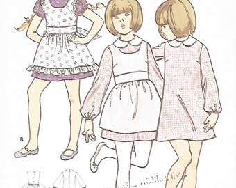 Butterick 6271 Girls 70s A Line Dress & Pinafore Sewing Pattern Size 6, Breast 25