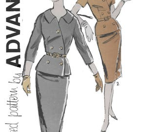 Advance 9614  Misses' 60s Two-Piece Dress Sewing Pattern with Jacket and Skirt Size 16 Bust 36