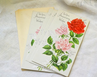 1950s NOS Rose Anniversary Greeting Card with Envelope