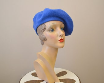 1980s Blue Wool Beret