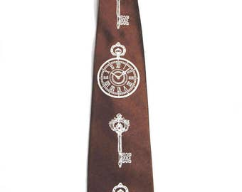 Clock Key Printed Steampunk Tie Necktie White Brown Men's Clock Alice in Wonderland Vintage Pocketwatch