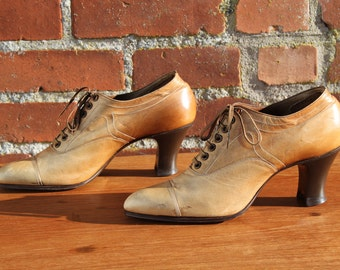 Antique Edwardian Lace Up Pumps with Louis Heel / Brown Leather / Excellent Condition