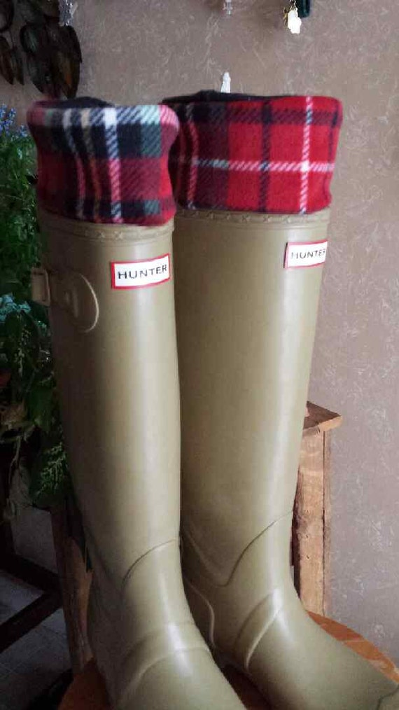 Rain Boot fleece Socks Red Plaid with Red or White by Bluebird58