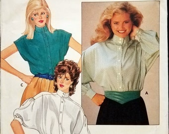 Vintage 1983 Butterick 4710 Women's Blouse Sewing Pattern from 1983 Un-cut