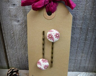 Fabric button bobby pins set of two - vintage Laura Ashley fabric - pink