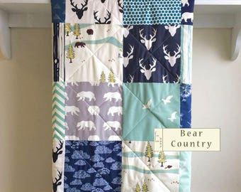 Baby Quilt, Woodland Quilt, Boy Blanket, Deer, Bear Country, Grey, Aqua, Navy, Mint, Black, Cream, Dandelion, Crib, Nursery Bedding, Minky