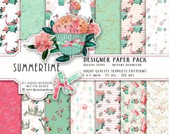 Summertime Digital Paper Flamingo Paper Flower Paper Crowns Balloons Paper Watercolor Cupcake Seamless Paper Glitter Planner Stickers DIY