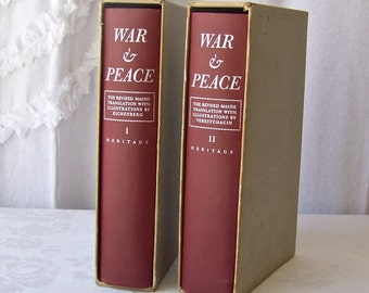 Vintage War And Peace Book Set Burgundy Cover Leo Tolstoy I938 Heritage Press