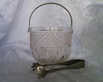 Vintage Ice Bucket Matching Tongs, Vintage Ice Bucket and Tongs