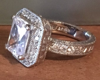 STERLING SILVER Princess Cubic Zirconia ENGAGEMENT Cz Bling 9.3 Grams Ring Size 7.5