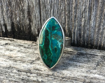 Malachite & Chrysocolla and sterling silver ring