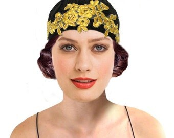 Art Nouveau Cloche Hat, Black Gold Flapper Hat, 1920s Hat, Great Gatsby, Crochet Hat, 20s Knit Hat, Beanie, Retro Gatsby Hat, Gift For Her