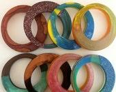 Resin Bangle - Handmade - Brown, Glitter, Blue, Yellow, Black, Red, Pink - Multicoloured Bangle Small Medium Size. Handmade Womens Jewellery