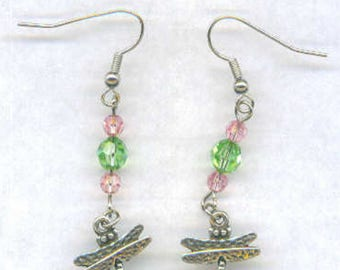 Dragon Fly Earrings - Summer-Tibetan Silver with Green and Pink Swarovski Beads