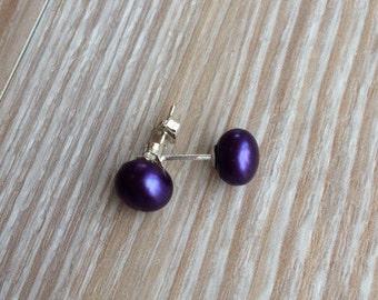 Pearl stud earrings 7-8mm, purple fresh water pearls and 925 sterling silver