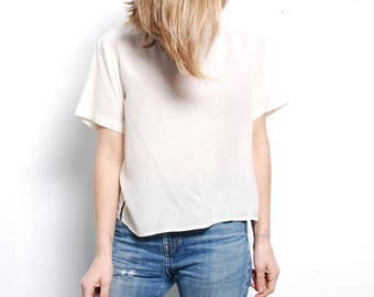 SILK 90s SHEER oversize slouchy CREAM white blouse boxy top