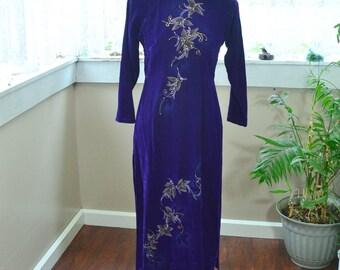 Vintage Purple Velvet Traditional Sari Dress NHU May - M