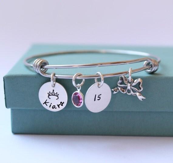 Sweet 16 Charm Bracelet: Personalized Charm Bracelet Quinceanera Jewelry Sweet 16