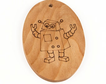 Robot // christmas ornament // wooden ornament // holiday decoration