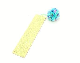 Blue Pom Pom Glitter Bookmark Page Marker