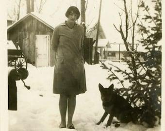 "Vintage Photo ""Sara and Her Winter Puppy"" Snapshot Antique Photo Old Black & White Photograph Found Paper Ephemera Vernacular - 79"