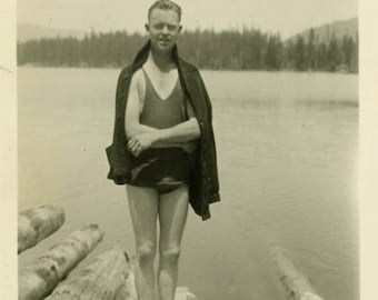 "Vintage Photo ""The Idaho Swimmer"" Snapshot Antique Photo Old Black & White Photograph Found Paper Ephemera Vernacular - 48"