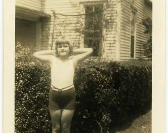 "Vintage Photo ""Jane"" Bathing Suit Swimsuit Fashion Child Little Teen Girl Americana Life Living Paper Ephemera Found Old Snapshot - 109"