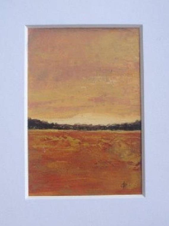 Original acrylic painting - landscape painting - earth tones - 5x7, white mat included