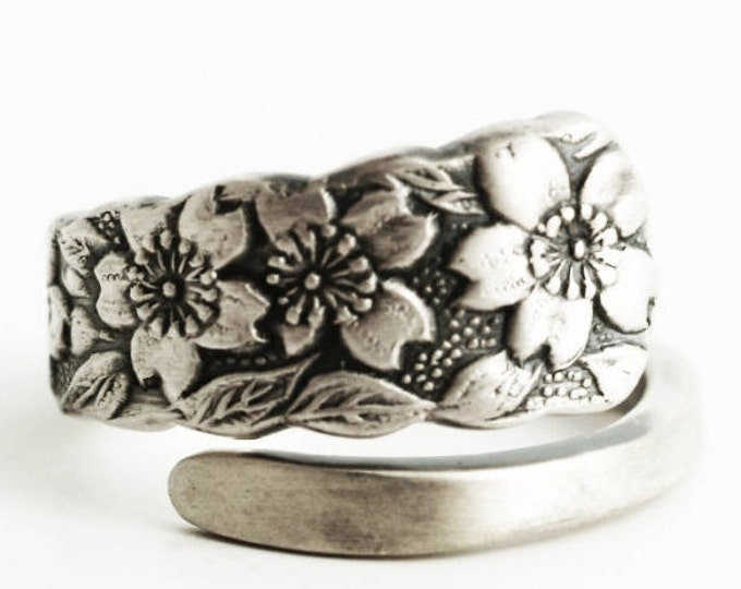 Small Cherry Blossom Ring, Cherry Blossom Flowers, Japanese 950 Sterling Silver Spoon Ring, Gift for Her, Ring Size 3 4 5 6 7 8 9 (6629)