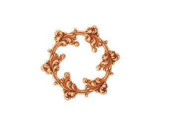 Rose Gold Copper Brass Stamping Floral Leaf Scroll Round Circle Frame Setting Qty 1 Heirloom Quality for Jewelry Making Made in the USA