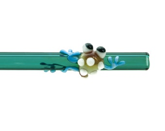 Caramel, White, and Sky Blue Tree Frog on a Straight Teal Glass Drinking Straw