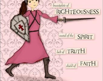 Warrior Girl - Full Armor of God - Scripture Art Print - Pink Background