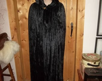 Black panne velvet cloak with a pointed hood