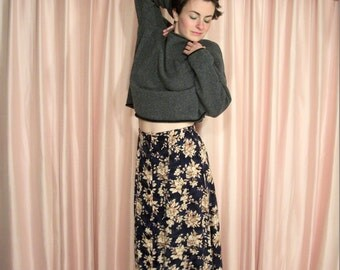 Long Navy Blue and Tan Floral Skirt, Elastic Waist