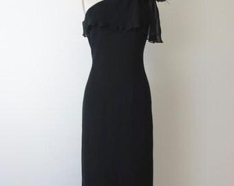 1970s GEOFFREY BEENE Black Silk One Shoulder Dress