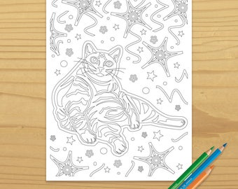 cat coloring page, confetti coloring page, party coloring page, kitten coloring page, animal coloring page, digital download