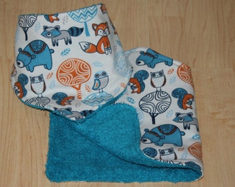 Woodland Baby Bandana Bib and Burp Cloth Set with a Darling Flannel Print and a Terry Cloth Lining for Teething Baby Boy Drool Bib Baby Boy