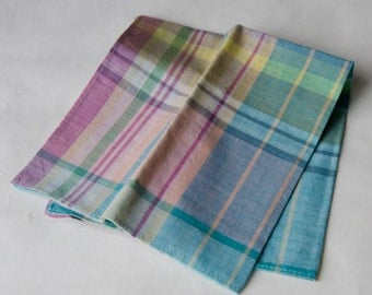 "Vintage Madras Pocket Square Ralph Lauren 14""  - OSB2"