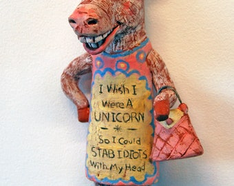 Stabby- original handbuilt ceramic sculpture, unicorn woman with purse