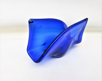 Vintage Napkin Holder | Cobalt Blue Glass | Sponge Holder | Letter Holder | Card Holder