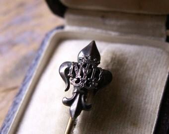 Antique Fleur de Lis Stick Pin, Hat Pin in original Spanish Jewelry Box - French Flea Market Find!