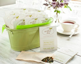 Spring Tea Sampler Gift . 20 Handmade Tea Bags in a Green Metal Pail